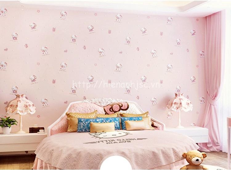 Giấy dán tường cho bé họa tiết hello kitty cho bé màu hồng