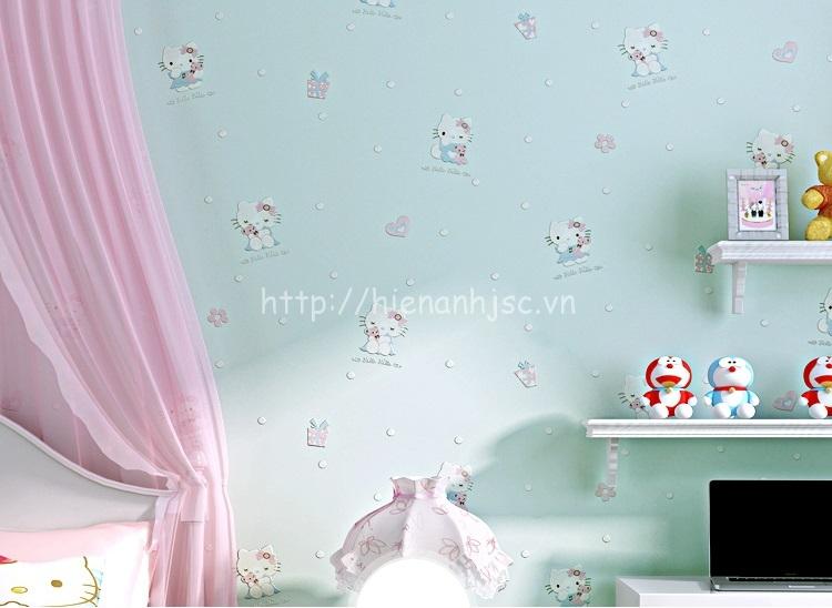 Giấy dán tường cho bé họa tiết hello kitty cho bé màu xanh