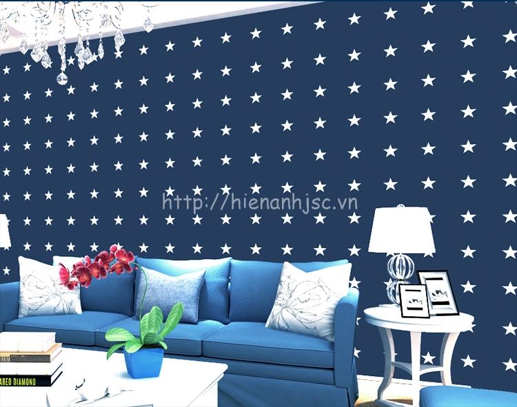 Giấy dán tường 3D - Họa tiết ngôi sao Captain America 3D173 màu xanh