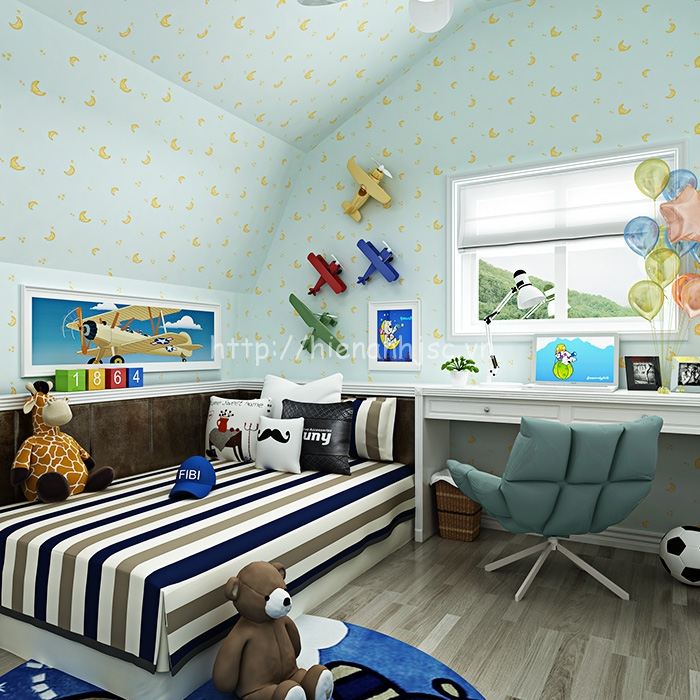 Giấy dán tường 3D - Họa tiết mặt trăng, ngôi sao cho phòng ngủ 3D178 mẫu 1