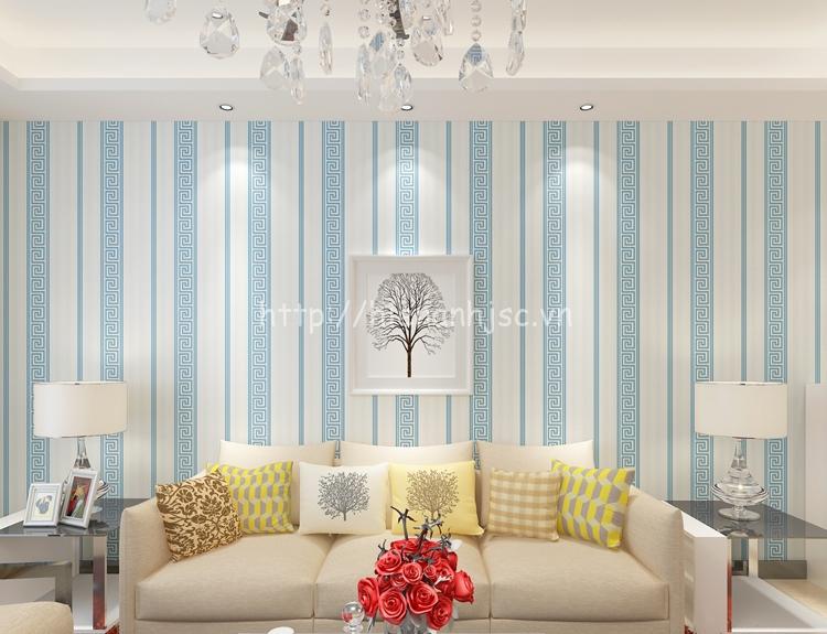 Giấy dán tường họa tiết sọc dọc đơn giản phong cách Trung Hoa màu xanh