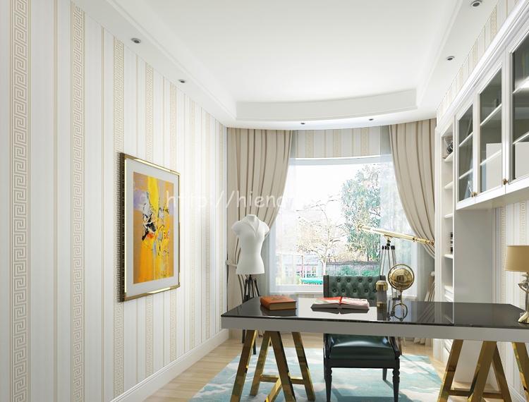 Giấy dán tường họa tiết sọc dọc đơn giản phong cách Trung Hoa màu vàng