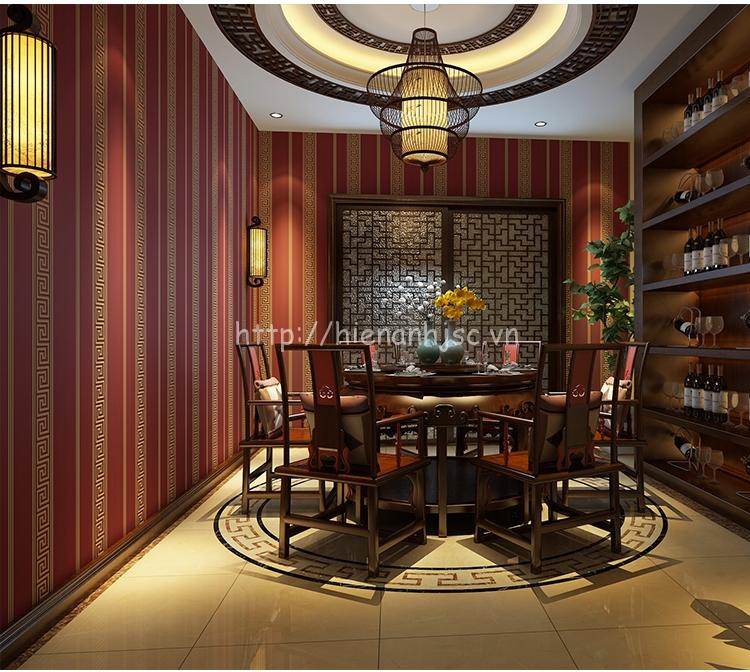 Giấy dán tường họa tiết sọc dọc đơn giản phong cách Trung Hoa màu đỏ