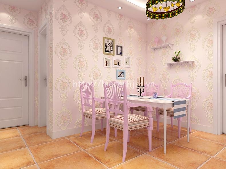 Giấy dán tường 3D - Họa tiết hoa văn dập nổi 3D180 màu hồng