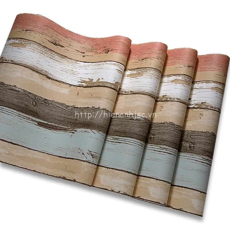 Giấy dán tường 3D - Họa tiết giả gỗ phong cách retro cổ điển 3D181 - cuộn giấy