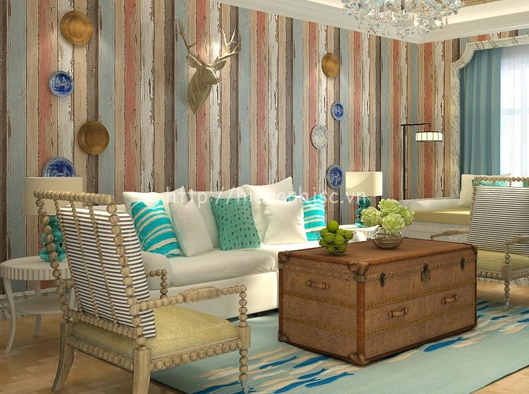 Giấy dán tường 3D - Họa tiết giả gỗ phong cách retro cổ điển 3D181 màu đỏ