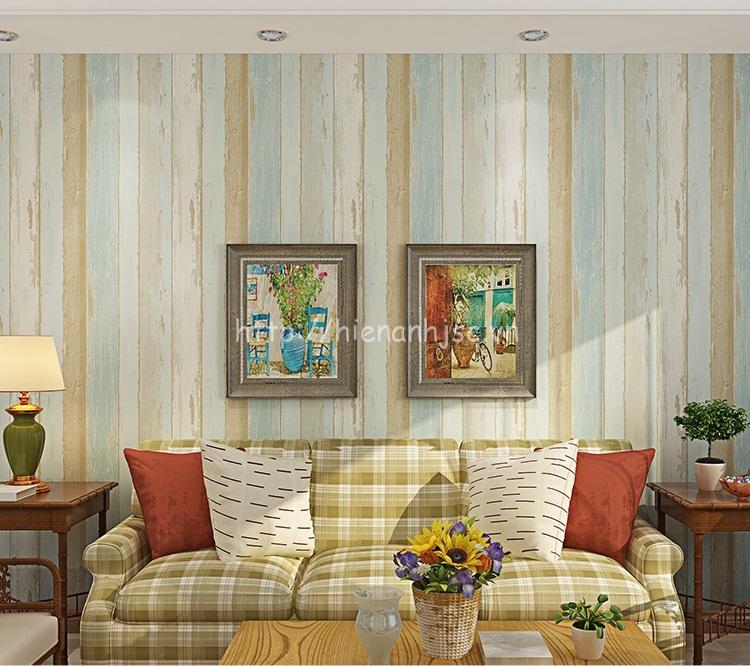 Giấy dán tường 3D - Họa tiết giả gỗ phong cách retro cổ điển 3D181 màu xanh