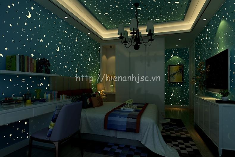 Giấy dán tường 3D - Họa tiết trăng sao dạ quang phát sáng 3D182 xanh