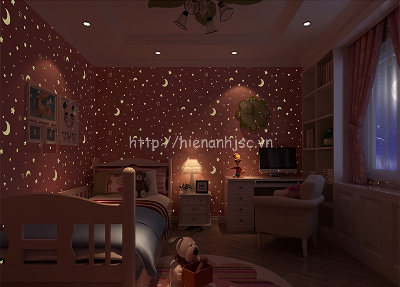 Giấy dán tường 3D - Họa tiết trăng sao dạ quang phát sáng 3D182 hồng