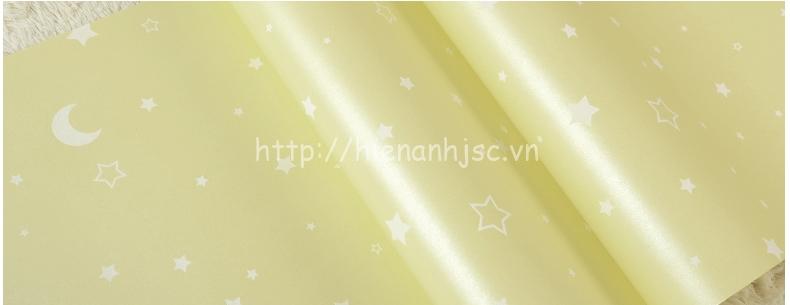 Giấy dán tường 3D - Họa tiết trăng sao dạ quang phát sáng 3D182 vàng