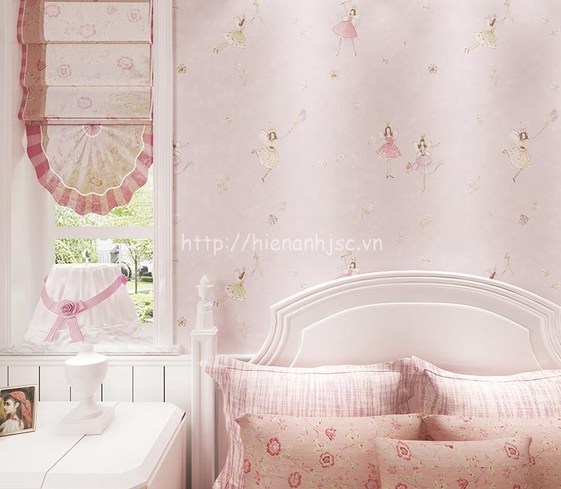 Giấy dán tường 3D - Họa tiết thiên thần nhỏ cho bé 3D183 màu hồng