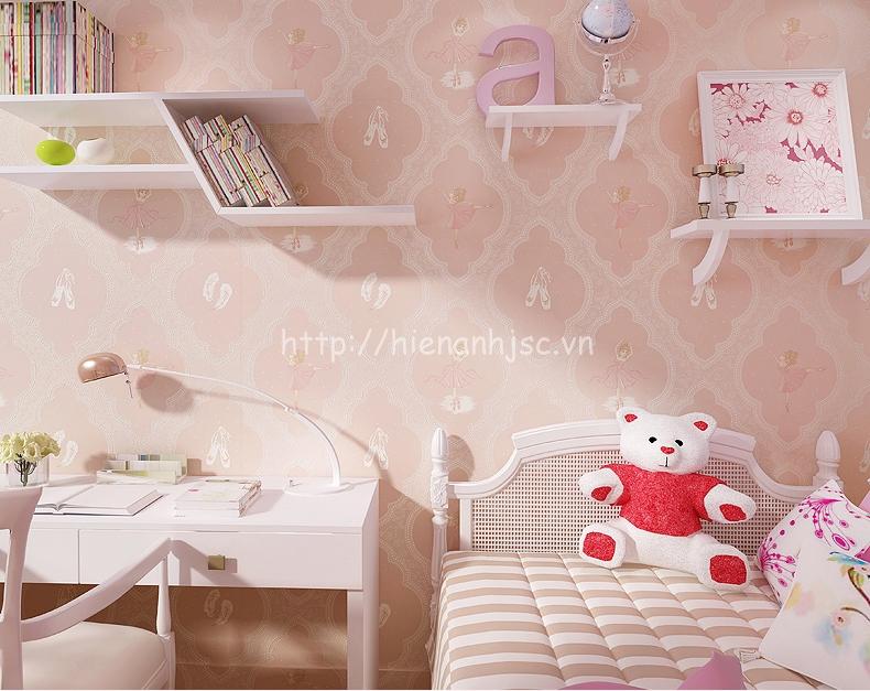 Giấy dán tường 3D - Họa tiết công chúa ba lê Ekektra 3D184 màu hồng