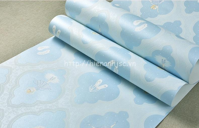 Giấy dán tường 3D - Họa tiết công chúa ba lê Ekektra 3D184 màu xanh