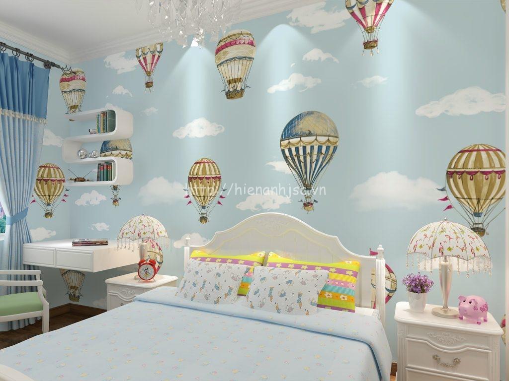 Giấy dán tường 3D - Họa tiết khinh khí cầu cho phòng ngủ của bé 3D185 màu xanh