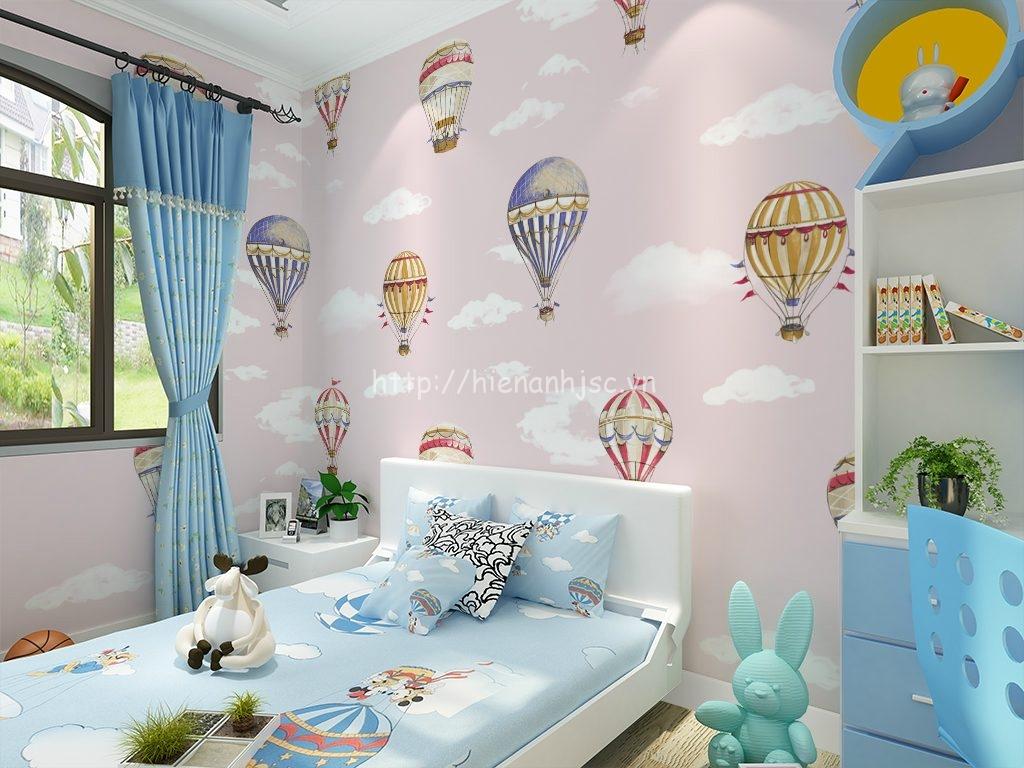 Giấy dán tường 3D - Họa tiết khinh khí cầu cho phòng ngủ của bé 3D185 màu hồng
