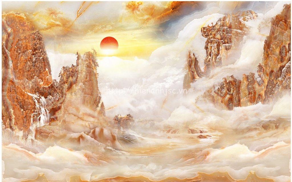 Tranh dán tường 5D - Tranh giả đá cẩm thạch chủ đề mây, núi 3D132