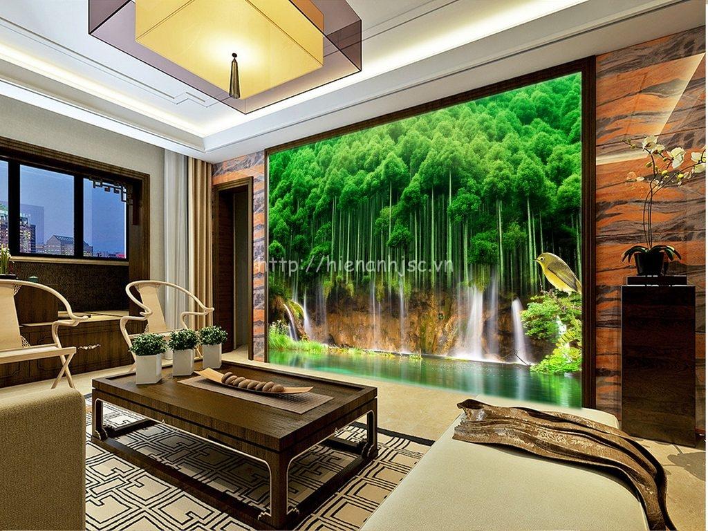 Tranh dán tường 5D - Bối cảnh rừng cây hùng vĩ 5D092