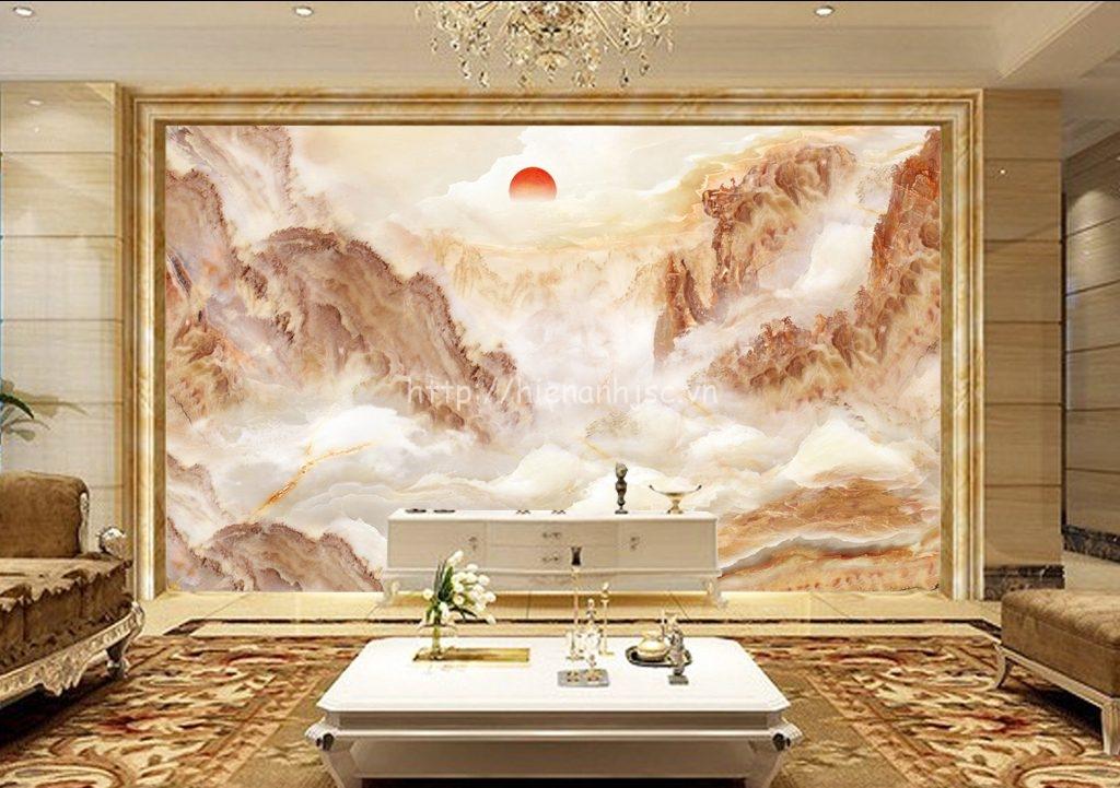Tranh dán tường 5D - Tranh giả đá cẩm thạch chủ đề núi 3D134