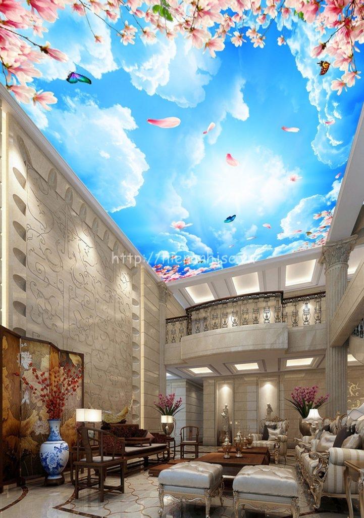 Tranh dán tường - Tranh dán trần bầu trời & hoa anh đào 5D093