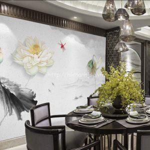 5D099-2-tranh dan tuong chu de hoa sen nhe nhang