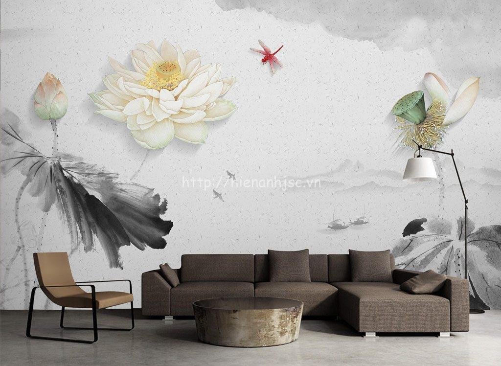 Tranh dán tường - Bối cảnh hoa sen mực tàu 5D099