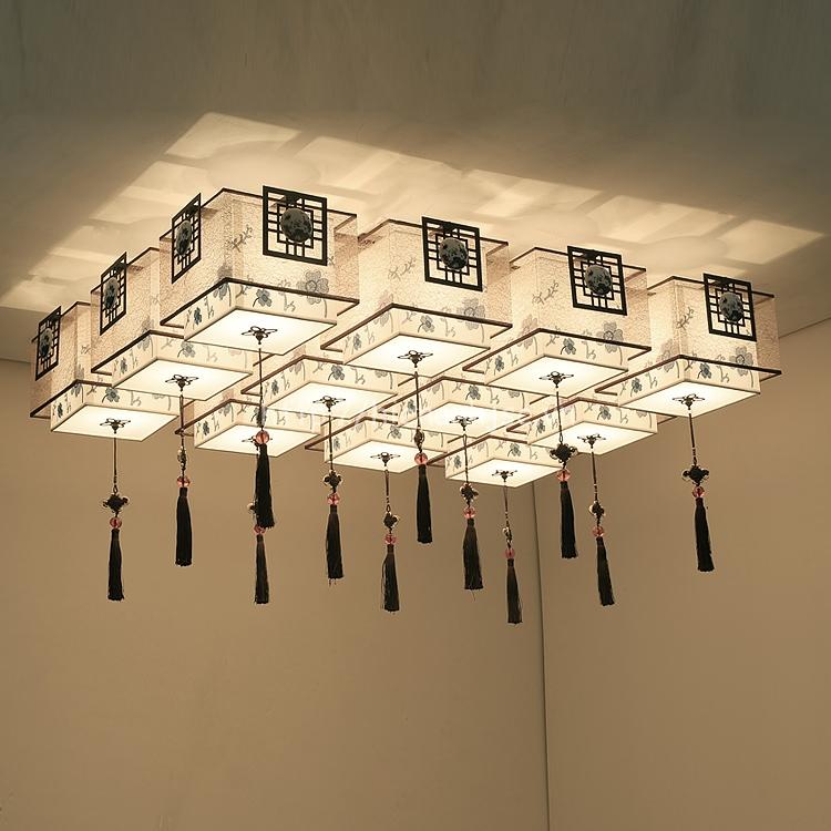 Đèn trần phòng khách sáng tạo hình hộp DTT027 12 bóng