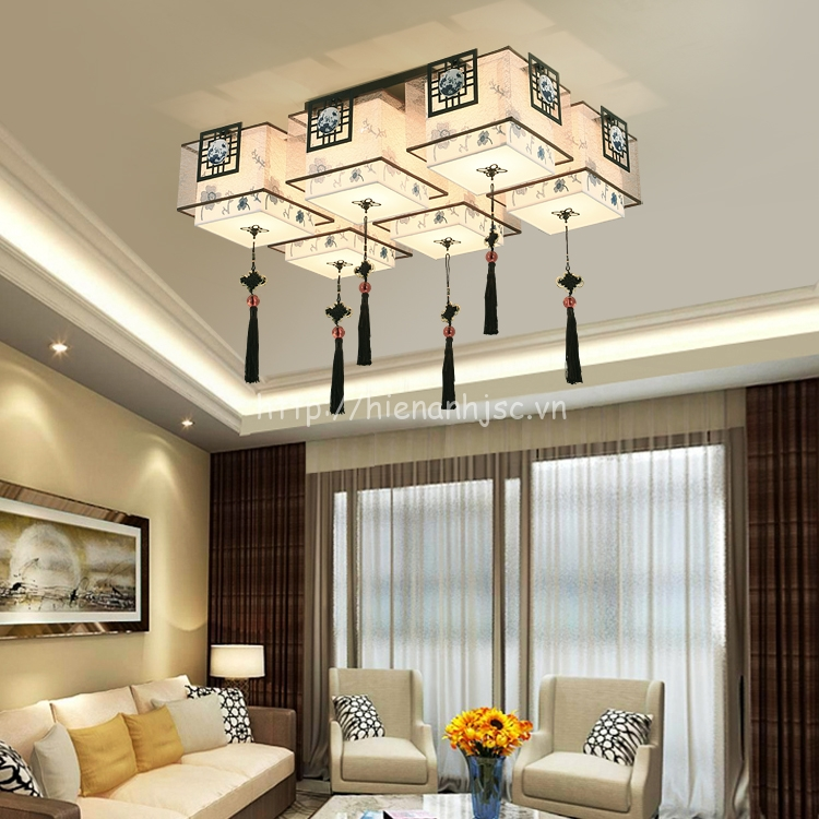 Đèn trần phòng khách sáng tạo hình hộp DTT027 6 bóng