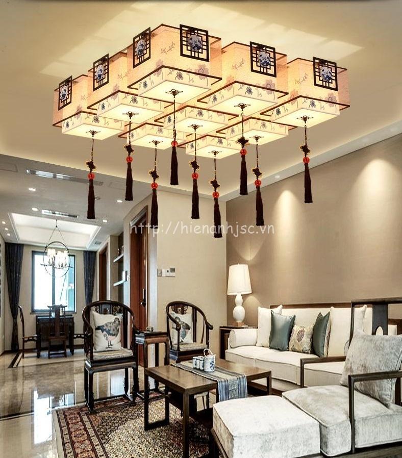 Đèn trần phòng khách sáng tạo hình hộp DTT027 9 bóng