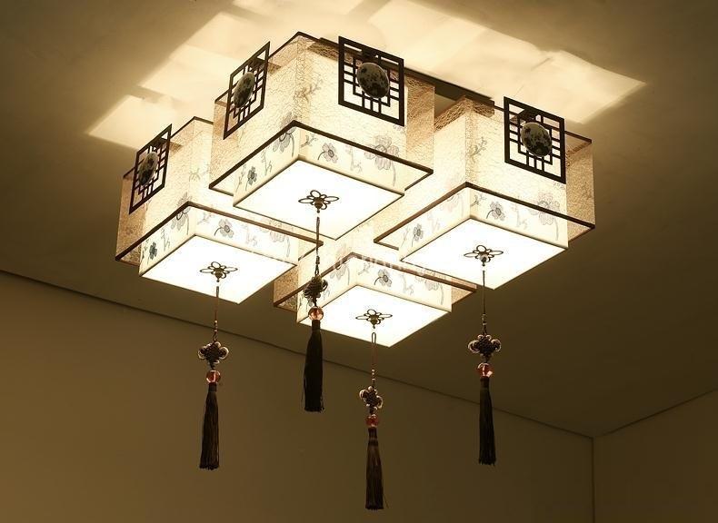 Đèn trần phòng khách sáng tạo hình hộp DTT027 4 bóng