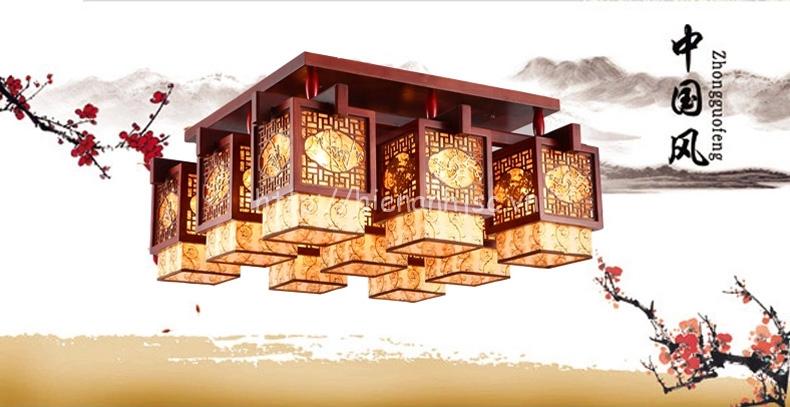 Đèn trần gỗ phong cách cổ điển sáng tạo hình hộp DTT029