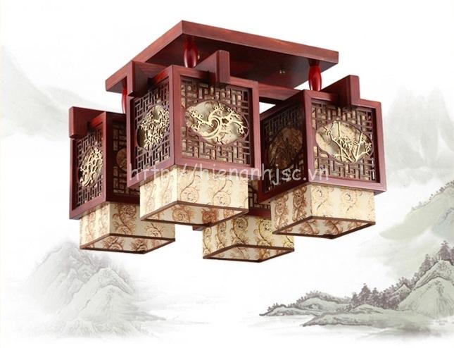 Đèn trần gỗ phong cách cổ điển sáng tạo hình hộp DTT029 loại 6 bóng