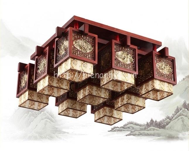 Đèn trần gỗ phong cách cổ điển sáng tạo hình hộp DTT029 loại 9 bóng
