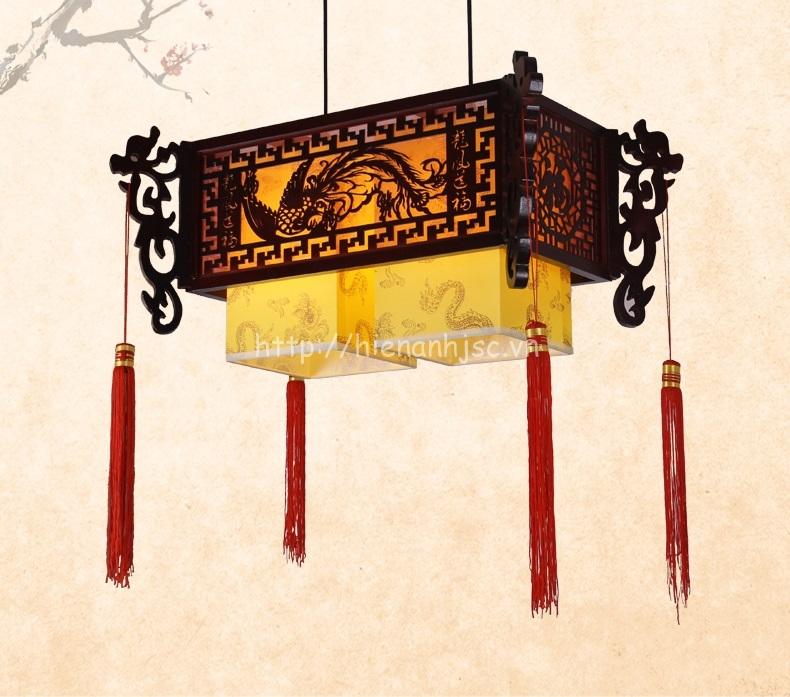 Đèn chùm gỗ nghệ thuật phong cách Trung Hoa DTT036 vuông 2 hộp