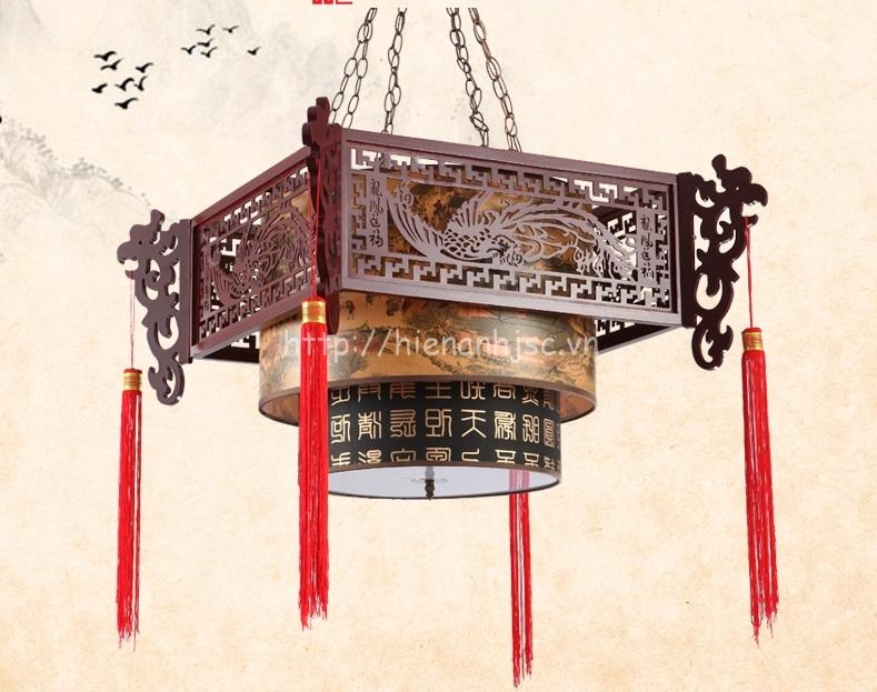 Đèn chùm gỗ nghệ thuật phong cách Trung Hoa DTT036 tròn