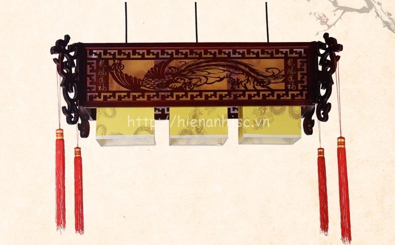 Đèn chùm gỗ nghệ thuật phong cách Trung Hoa DTT036 vuông