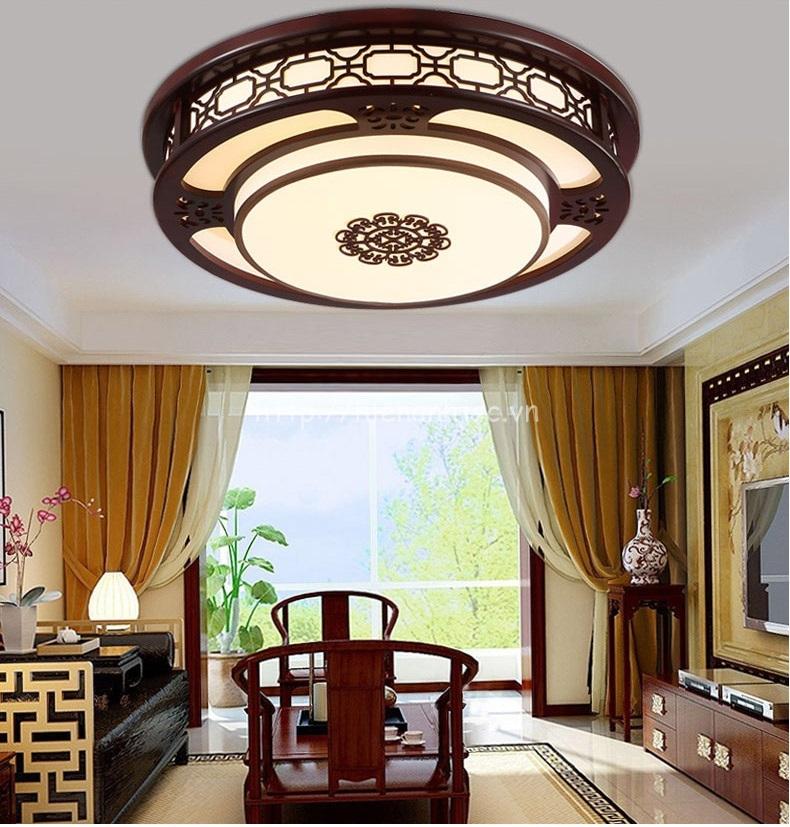 Đèn trần trang trí gỗ hình tròn phong cách cổ điển DTT037