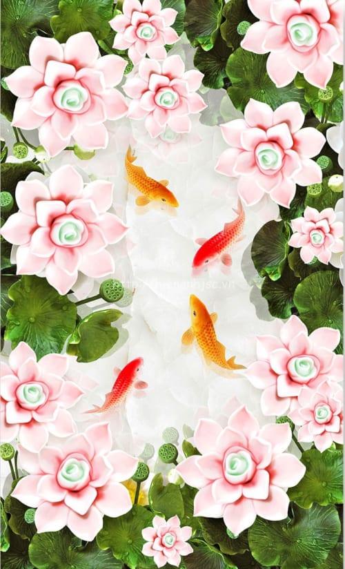 5D103-3-tranh dan tran hoa sen ca chep