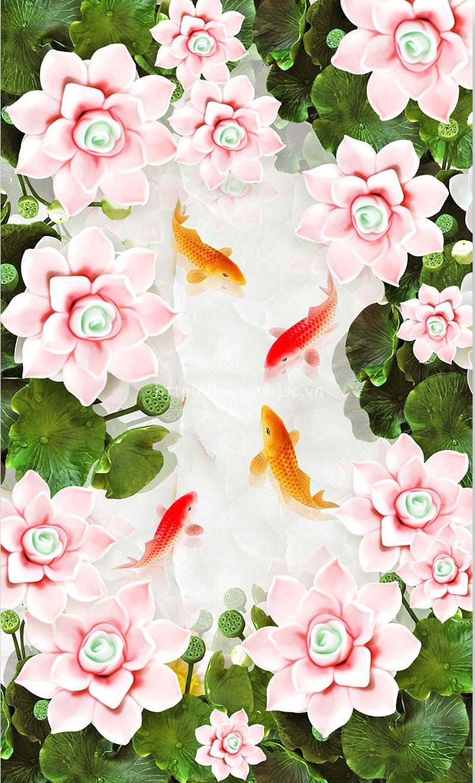Tranh dán tường 5D - Tranh dán trần chủ đề cá chép đầm sen 5D103
