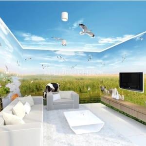 Tranh dán tường 5D đồng cỏ và trời xanh - 5D117