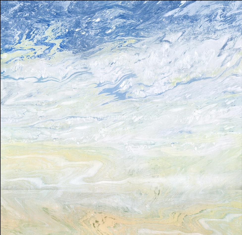 Tranh dán tường 5D - Tranh giả đá cẩm thạch xanh trắng 3D122