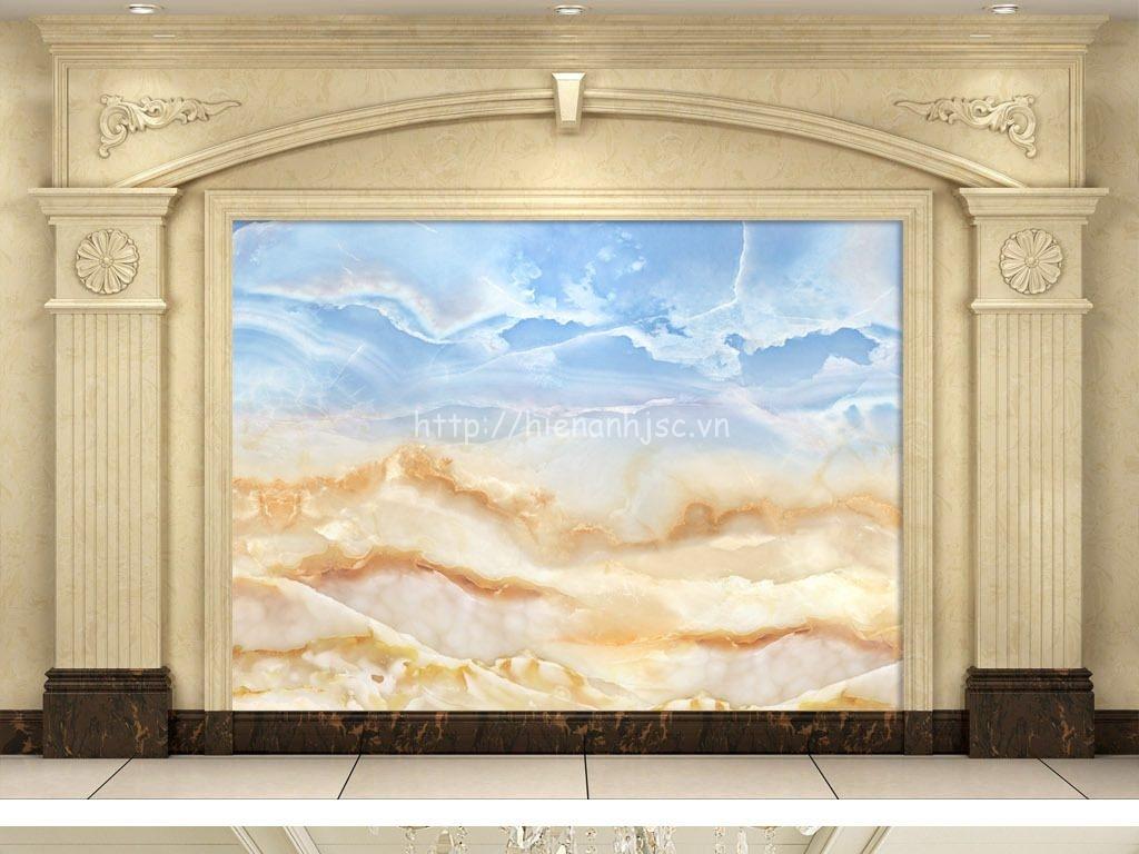 Tranh dán tường 5D - Tranh giả đá cẩm thạch vàng xanh 3D124
