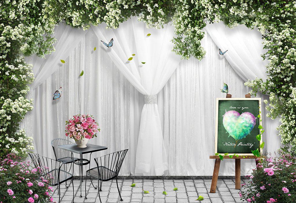 Tranh dán tường 5D - Tranh rèm trắng ngày cưới 5D127