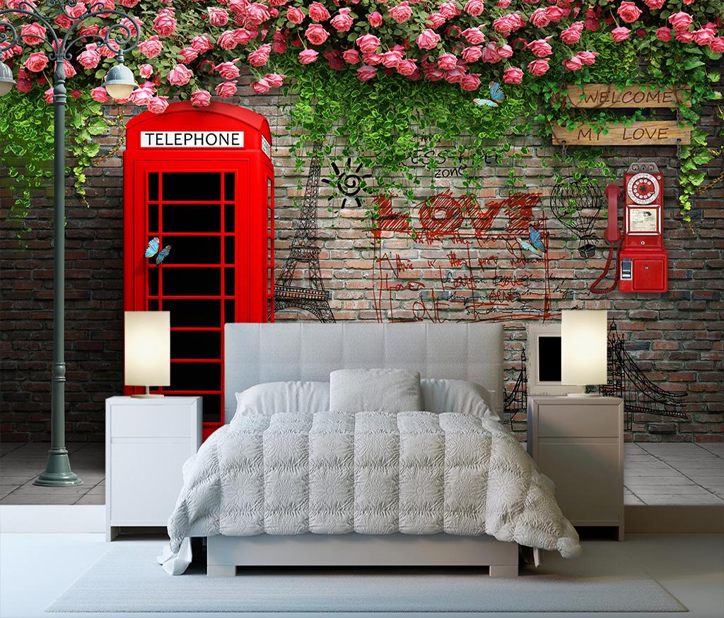 Tranh dán tường tường gạch và hoa - 5D128