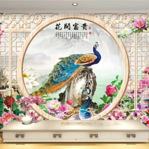 5D135-5-tranh dan tuong chu de cua so hoa mau don va chim cong