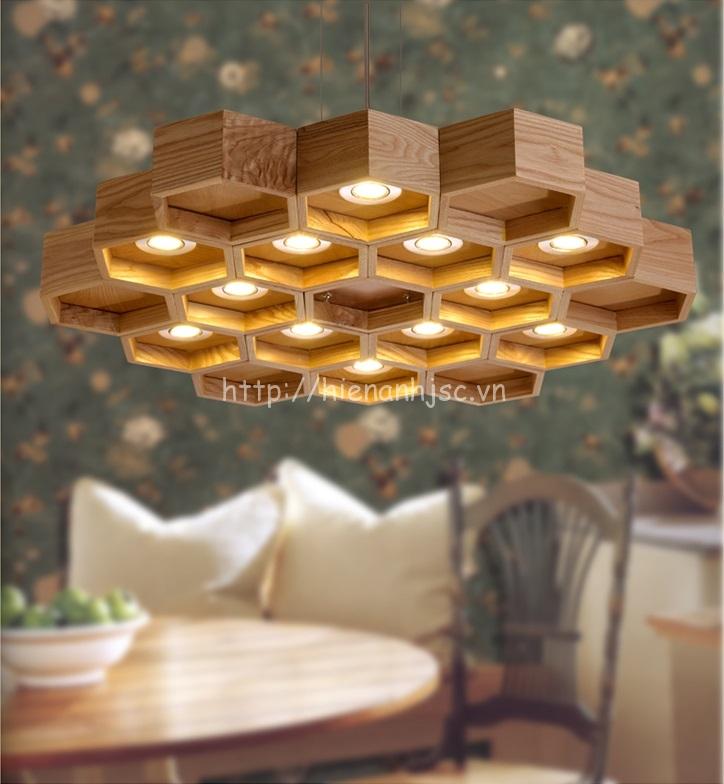 Đèn chùm gỗ phong cách sáng tạo cho phòng khách, nhà hàng, quán cafe - DTT040