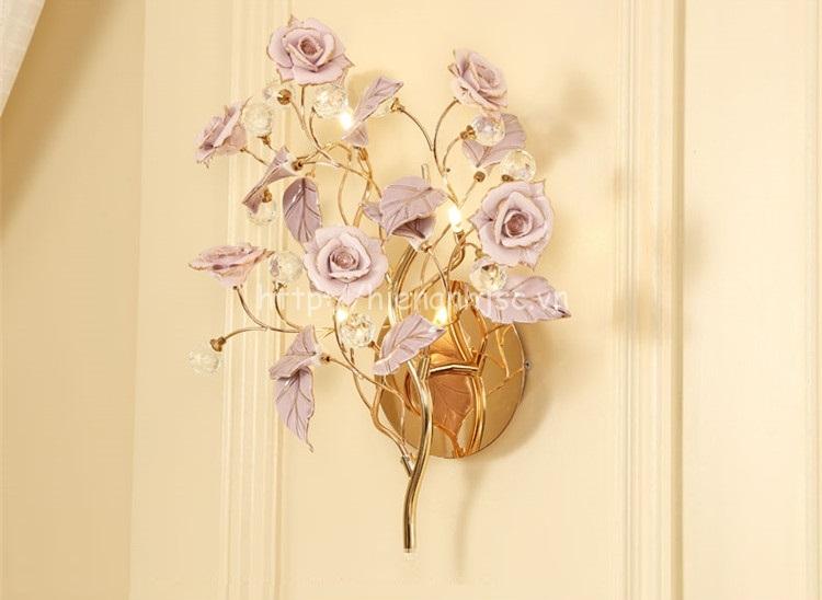 Đèn tường trang trí hoa hồng phong cách Pháp DTT043
