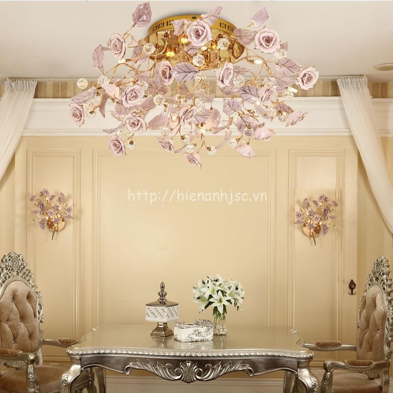 Đèn chùm trang trí hoa hồng phong cách Pháp DTT045