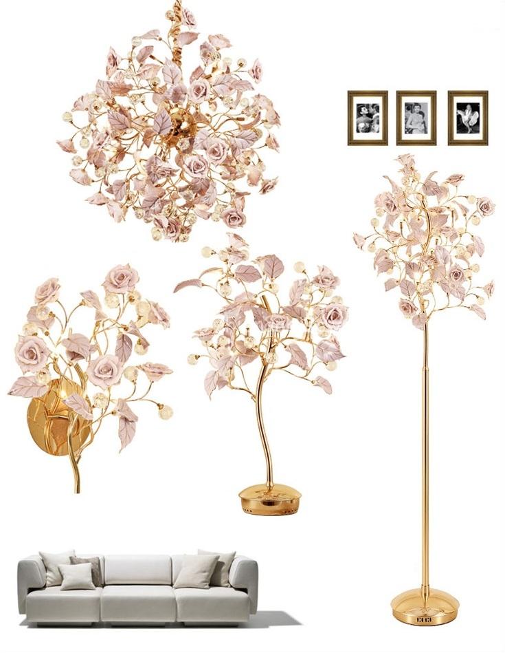 Bộ đèn trang trí đèn hoa hồng phong cách Pháp