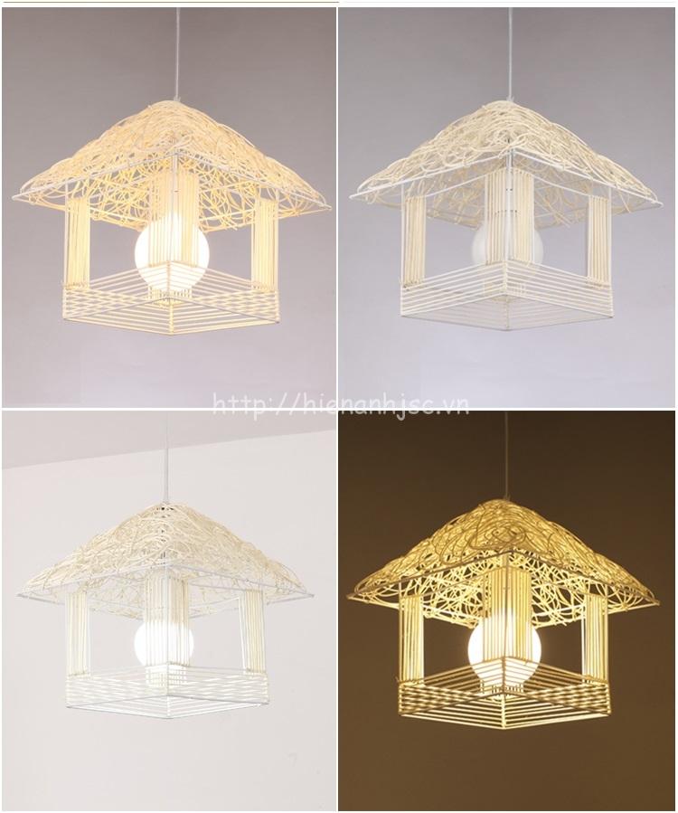 Đèn led sáng tạo thân nhôm hình ngôi nhà khi bật và tắt điện
