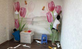 Thi công giấy dán tường 3D và tranh 5D tại GoldenMark City Hà Nội
